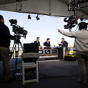 Behind the scenes look at NBC Sports and Golf Channel crews producing the WGC Accenture Match Play golf tournament in Marana, Arizona.
