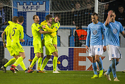 November 8, 2018 - MalmÅ, Sverige - 181108 SÅ¡ren Rieks and Arn—r Ingvi Traustason of MalmÅ¡ FF looks dejected while Patrick Mortensen of Sarpsborg 08 is celebrated by his teammates after scoring 0-1 during the Europa League group stage match between MalmÅ¡ FF and Sarpsborg 08 on November 8, 2018 in MalmÅ (Credit Image: © Ludvig Thunman/Bildbyran via ZUMA Press)