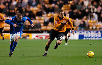 Photo: Leigh Quinnell.<br /> Wolverhampton Wanderers v Leicester City. Coca Cola Championship. 09/12/2006. Wolves' Craig Davies races away from Leicesters  James Wesolowski.