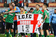 Lincoln City players celebrate their win after the final whistle. The Emirates FA cup 5th round match, Burnley v Lincoln City at Turf Moor in Burnley, Lancs on Saturday 18th February 2017.<br /> pic by Chris Stading, Andrew Orchard Sports Photography.