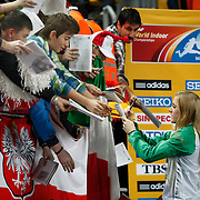 Sally Pearson of Australia displays her gold medal during the IAAF World Indoor Championships at the Atakoy Athletics Arena, Istanbul, Turkey. Photo by TURKPIX