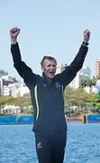"Rio de Janeiro. BRAZIL.  NZL M1X, Gold Medalist, Mahe DRYSDALE,   2016 Olympic Rowing Regatta. Lagoa Stadium,<br /> Copacabana,  ""Olympic Summer Games""<br /> Rodrigo de Freitas Lagoon, Lagoa.   Saturday  13/08/2016 <br /> <br /> [Mandatory Credit; Peter SPURRIER/Intersport Images]"