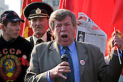 Moscow, Russia, 01/05/2005..Demonstrators from a wide range of political groups take to the streets on the traditional Russian Mayday holiday to protest against President Vladimir Putin and the Russian government..Veteran Communist agitator Viktor Anpilov addresses supporters.