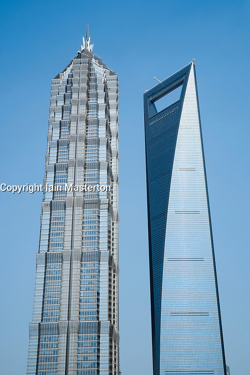 JinMao Tower on left and World Financial Center tower on the right in Lujiazui finacial district on Shanghai China
