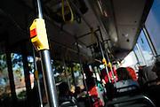 """Stop"" button and interior of public transport bus. Sydney, Australia"