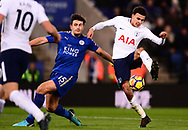 Dele Alli of Tottenham Hotspur takes a shot at goal as Harry Maguire of Leicester city tries to block him .Premier league match, Leicester City v Tottenham Hotspur at the King Power Stadium in Leicester, Leicestershire on Tuesday 28th November 2017.<br /> pic by Bradley Collyer, Andrew Orchard sports photography.
