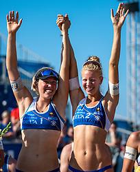 25-08-2019 NED: DELA NK Beach Volleyball, Scheveningen<br /> Last day NK Beachvolleyball / Emma Piersma #1 and Pleun Ypma #2 Dutch Champion Beachvolleyball 2019