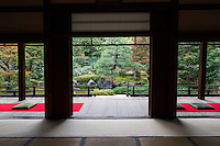 Shoden Eigen-in is a sub-temple of Kennin-ji.  At the time of its foundation, Shoden Eigen-in was made up of two separate main temples: Shoden-in and Eigen-an.  The temple was restored in the fifteenth century by a student of the tea master, Sen-no-Rikyu who practiced tea ceremony at the temple and for that purpose built a detached teahouse named Jo-an.  Eigen-an Temple was established in 1346 by the Zen priest, Mugai Ninko. The two temples were merged into one by the statesman Hosokawa Moritatsu. The temple formed from the merger was named Shoden Eigen-in.  Shoden Eigen-in is famous for Jo-an teahouse and for its beautiful garden.  The garden is only open for short periods or on special occasions, usually during April and November for sakura and momiji viewing.