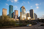 Downtown Houston city, Texas with modern building in golden hour