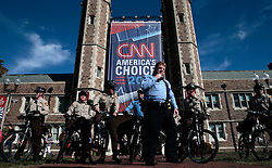 Bike officers from St. Louis County work with Washington University officers as they patrol in the quadrangle at Brookings Hall before the debate between Hillary Clinton and Donald Trump on Sunday, October 9, 2016. Photo by Robert Cohen/St. Louis Post-Dispatch/TNS/ABACAPRESS.COM