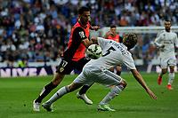 Real Madrid´s Fabio Coentrao and Almeria's Edgar Antonio Mendez during 2014-15 La Liga match between Real Madrid and Almeria at Santiago Bernabeu stadium in Madrid, Spain. April 29, 2015. (ALTERPHOTOS/Luis Fernandez)