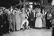 1959. From left to right: Mr Cabot Lodge, his wife, Louis Jordan, Nikita Khrushchev, Shirley MacLaine, Madame Khrushchev, Maurice Chevalier, Frank Sinatra and Juliet Prowse, on the set of Can Can.<br /> <br /> 1959. De gauche à droite : M. Cabot Lodge, son epouse , Louis Jordan , Nikita Khrouchtchev , Shirley MacLaine , Mme Khrouchtchev , Maurice Chevalier , Frank Sinatra et Juliette Prowse , sur le plateau de tournage du film Can Can .