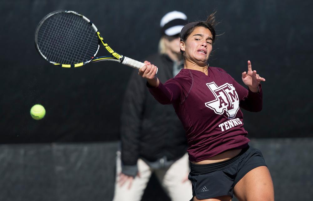 UTRGV vs. Texas A&M in a NCAA women's tennis match Jan. 13, 2018, in College Station, Texas.