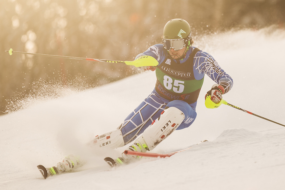 William Randall of Colby College, skis during the first run of the men's slalom at the Colby College Carnival at Sugarloaf Mountain on January 18, 2014 in Carabassett Valley, ME. (Dustin Satloff/EISA)
