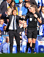 Antonio Conte , the Chelsea manager complains to the referee. Premier league match, Chelsea v Arsenal at Stamford Bridge in London on Sunday 17th September 2017.<br /> pic by Andrew Orchard sports photography.