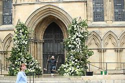 Final preparations take place at York Minster, ahead of the wedding of singer Ellie Goulding to Caspar Jopling.