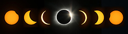 A composite image of eight pictures shows the phases of the total eclipse as the moon passes from left to right in front of the sun during a solar eclipse on Monday, Aug. 21, 2017, near Perryville, Mo. Shot with an equivalent of an 800mm lens, the partial phases are single exposures. The center image of the total eclipse is made from multiple exposures that help show more detail of the sun's corona around the moon. Photo by Chris Lee/St. Louis Post-Dispatch/TNS/ABACAPRESS.COM