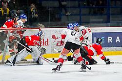 10.03.2019, Ice Rink, Znojmo, CZE, EBEL, HC Orli Znojmo vs HC TWK Innsbruck Die Haie, Qualifikationsrunde, 54. Runde, im Bild v.l. Mikko Vainonen (HC Orli Znojmo) Mario Lamoureux (HC TWK Innsbruck) Teemu Tapio Lassila (HC Orli Znojmo) Ondrej Sedivy (HC TWK Innsbruck) // during the Erste Bank Eishockey League 54th round match between HC Orli Znojmo and HC TWK Innsbruck Die Haie at the Ice Rink in Znojmo, Czech Republic on 2019/03/10. EXPA Pictures © 2019, PhotoCredit: EXPA/ Rostislav Pfeffer