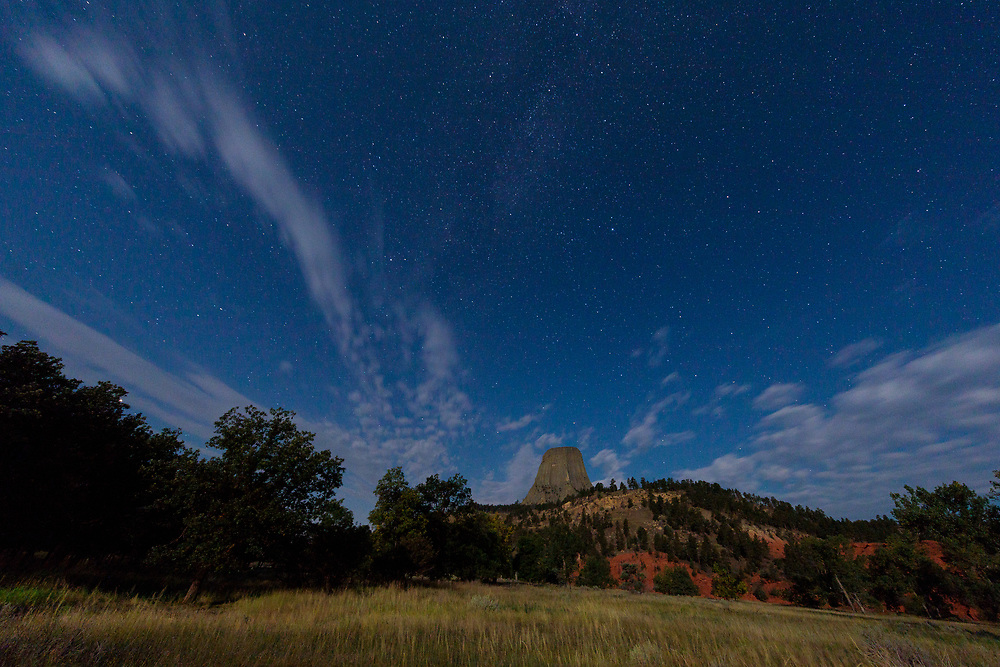 Devil's Tower at night shot from the KOA Campground at the base.