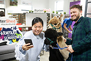 """30/09/2019 Repro free:    Portershed's Aoife Cheung and Anthony Shaughnessy with  Alpaca """"Eurythmics"""" and Alpaca """"Ear to the Ground""""  The  Alpacas from Farmyard in your School yard who paid a visit to the Portershed. Photo:Andrew Downes, xposure.ie"""