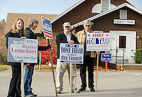 Heather Lounsbury for Laconia School Board, Chris Fay, Tony Felch for Ward 6 City Councilor and Joe Guliano greet voters in Ward 6 outside Leavitt Park Clubhouse on Tuesday morning.  (Karen Bobotas/for the Laconia Daily Sun)
