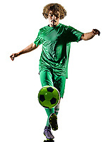 one mixed race young teenager soccer player man playing  in silhouette isolated on white background