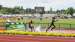 men's 3000 meter steeplechase, Barnabas KIPYEGO, Kenya, leads