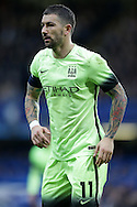 Aleksandar Kolarov of Manchester City looks on. The Emirates FA Cup, 5th round match, Chelsea v Manchester city at Stamford Bridge in London on Sunday 21st Feb 2016.<br /> pic by John Patrick Fletcher, Andrew Orchard sports photography.