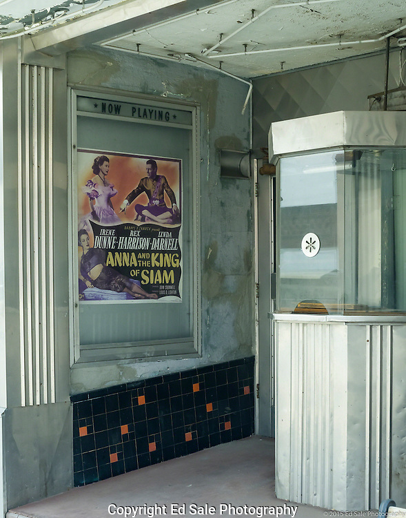 Abandoned movie theater in Helper, Utah still exhibits the movie poster for the 1946 film Anne and the King of Siam.