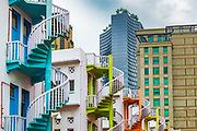 Colorful spiral staircases at Bugis Village, Singapore, Republic of Singapore