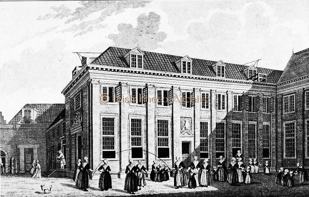 Burher orphanage for girls in Amsterdam circa 1750