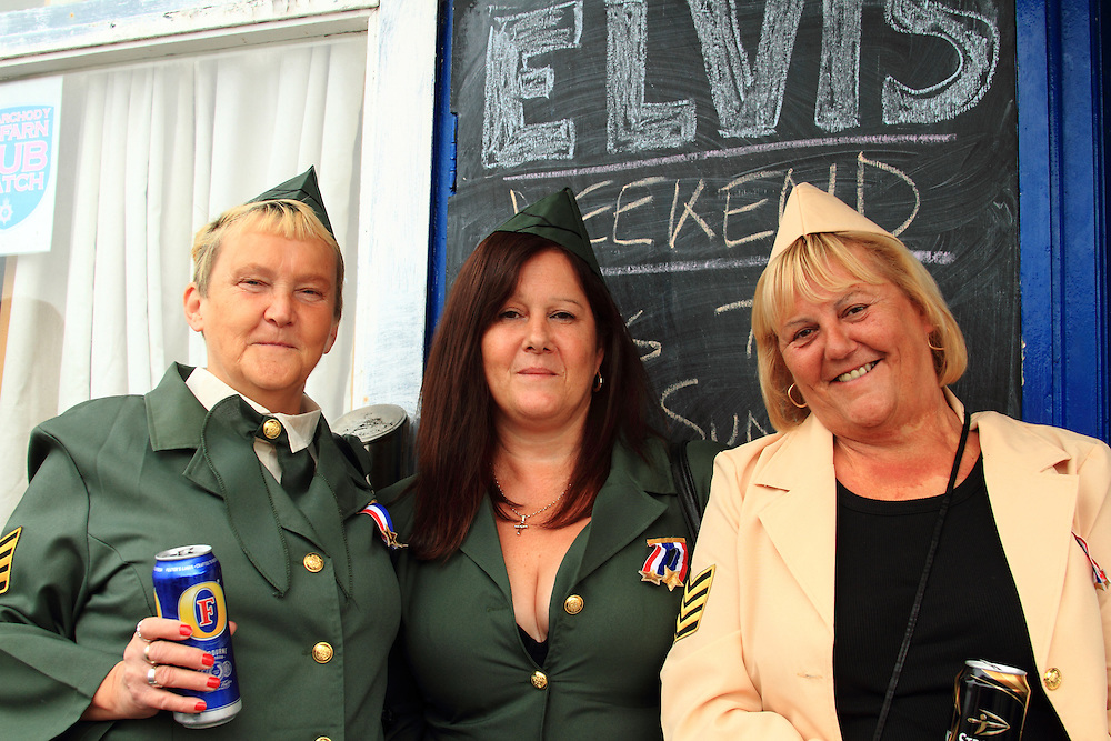 Friends from Aberdare get into the spirit of the Elvis Festival, held each year the South Wales seaside town of Porthcawl