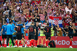 July 11, 2018 - Moscow, Russia - 180711 The team of Croatia celebrate with fans after winning the FIFA World Cup semi final match between Croatia and England on July 11, 2018 in Moscow..Photo: Petter Arvidson / BILDBYRÃ…N / kod PA / 92085 (Credit Image: © Petter Arvidson/Bildbyran via ZUMA Press)