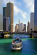 Image of the Chicago River near North Michigan Avenue and the Magnificent Mile, Chicago, Illinois, American Midwest by Randy Wells