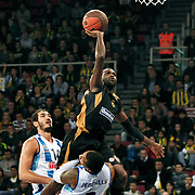 Fenerbahce Ulker's Kaya PEKER (L) and Sluc Nancy's Jamal Usa SHULER (C) during their Turkish Airlines Euroleague Basketball Group A Game 3 match Fenerbahce Ulker between Sluc Nancy at Abdi İpekci Arena in Istanbul, Turkey, Thursday, November 03, 2011. Photo by TURKPIX
