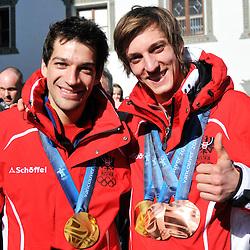 20100224: AUT, Arrival of Gregor Schlierenzauer and Andreas Kofler in Fulpmes
