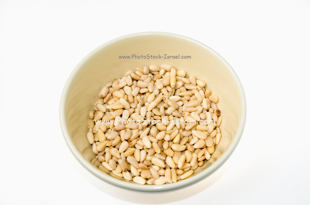 Pine nuts the edible seeds of stone pine tree (Pinus pinea) on white background