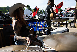 The Barnyard Stompers Band play the Speed Shack during the Tennessee Motorcycles and Music Revival at Loretta Lynn's Ranch. Hurricane Mills, TN, USA. Friday, May 21, 2021. Photography ©2021 Michael Lichter.