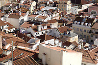 01 JAN 2006, LISBON/PORTUGAL:<br /> Blick auf die Daecher von Alfama, einem historischen Stadtteil der Stadt Lissabon<br /> View on the rooftops of Alfama, a historical district of the city of Lisbon<br /> IMAGE: 20060101-01-002<br /> KEYWORDS: Lisboa, roof, Dach, Dächer, Reise, travel, Stadtansicht, Europa, europe, cityscape