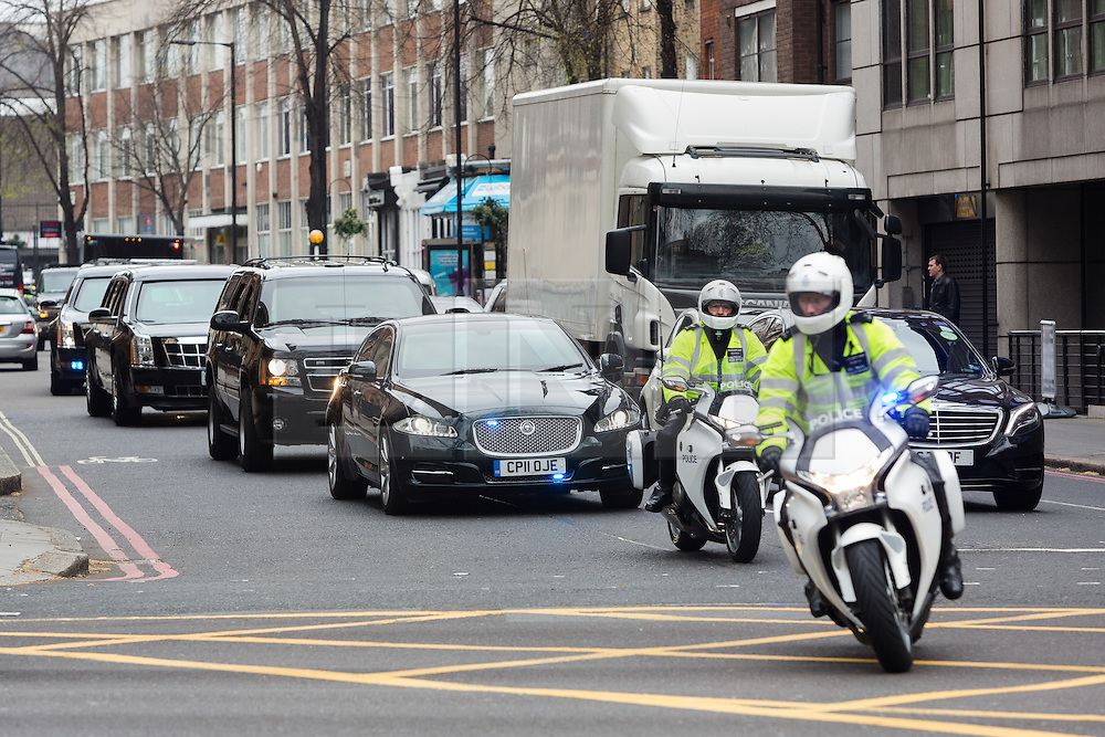 © Licensed to London News Pictures. 22/04/2016. London, UK.  A convoy of security vehicles with US president, Barak Obama is seen turning onto Marylebone Road in London this morning. Photo credit : Vickie Flores/LNP