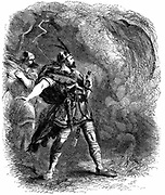 Macbeth and Banquo encountering the Three Witches and hearing their 'prophetic greeting'. Illustration by Sir John Gilbert for an edition of Shakespeare's works, London 1858. Wood engraving