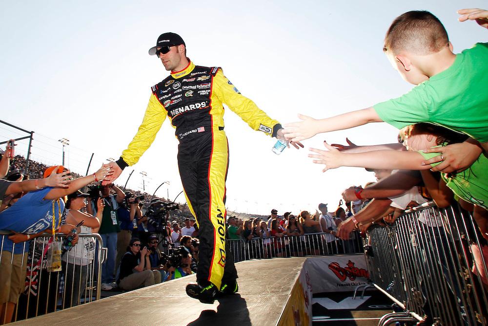 Apr 12, 2014; Darlington, SC, USA; NASCAR Sprint Cup driver Paul Menard (27) during driver introductions before the Southern 500 at Darlington Raceway. Mandatory Credit: Peter Casey-USA TODAY Sports