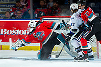 KELOWNA, BC - MARCH 11:Roman Basran #30 of the Kelowna Rockets makes a save against the Victoria Royals  at Prospera Place on March 11, 2020 in Kelowna, Canada. (Photo by Marissa Baecker/Shoot the Breeze)