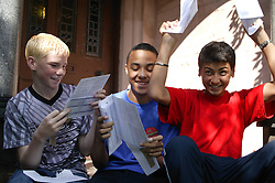 Teenage boys celebrating their exam results together,