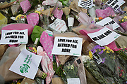 Memorial flowers and notices to PC Keith Palmer who was killed during the Westminster terror attack in London, England, United Kingdom.