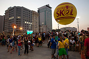 The Skol hot air baloon. People from all over the World have come down to the Olympic boulevard to enjoy the games at this live site, Praca Maua and Praca XV, Centro Rio de Janeiro, Rio 2016, Brazil.