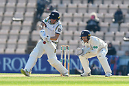 Gary Ballance of Yorkshire plays an attacking shot while batting during the Specsavers County Champ Div 1 match between Hampshire County Cricket Club and Yorkshire County Cricket Club at the Ageas Bowl, Southampton, United Kingdom on 11 April 2019.