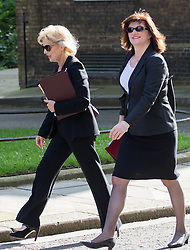 Downing Street, London, May 17th 2016. Small Business Minister Anna Soubry arrives with Education Secretary Nicky Morganvat the weekly cabinet meeting in Downing Street.