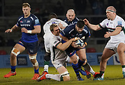 Sale Sharks hooker Rob Webber is tackled by London Irish second-row Franco van der Merwe during a Gallagher Premiership Rugby Union match, won by Sharks 39-0, Friday, Mar. 6, 2020, in Eccles, United Kingdom. (Steve Flynn/Image of Sport)