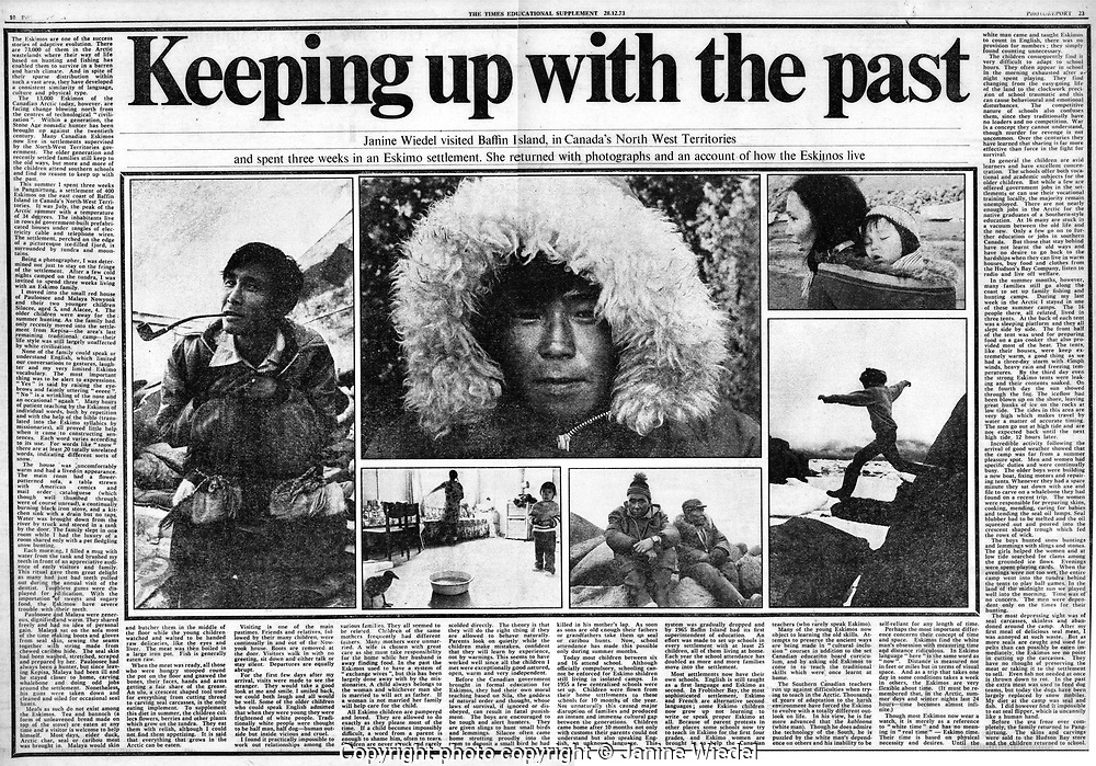 The Times Educational article by janine Wiedel on Baffin Island Inuit Dec 1973